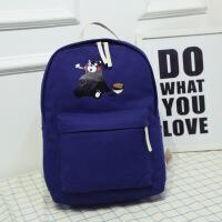 韩版学院风帆布双肩背包 卡通可爱小熊中学生书包 印花休闲小包 旅游运动书包 男女