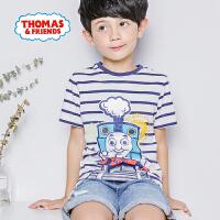 【满600减400】托马斯童装男童夏装2018夏季新品短袖条纹T恤
