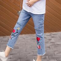 打底裤夏装薄款长裤子春季新款潮妈孕妇裤破洞九分裤牛仔裤