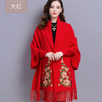 带袖披肩外套女秋2018秋季新款 配旗袍的披风中长款斗篷 秋冬xx