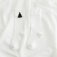 春新 儿童袜子女童翻边堆堆袜1-3-5-8岁女宝宝糖果棉袜春夏薄yly 白色 D04010流苏中筒袜
