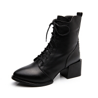 真皮女靴高跟�R丁靴英���L尖�^中跟短靴冬秋�窝ゴ指�中筒靴冬棉鞋