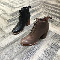 秋冬新款靴子胎牛皮圆头粗跟短筒靴欧美风女靴欧货