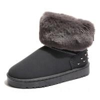 冬季蝴蝶结雪地靴女短筒靴韩版面包鞋加厚学生雪地棉铆钉短靴