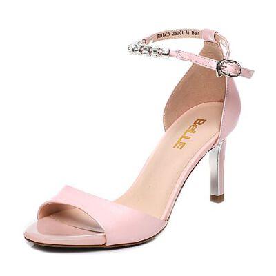 Belle/百丽夏季专柜同款羊皮细高跟女凉鞋BDBC3BL7