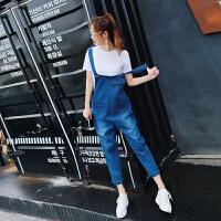 套装女春2018新款短袖白色T恤女宽松韩版百搭牛仔背带裤两件套装 白+牛仔蓝