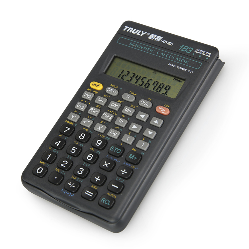 TRULY信利 SC-118B学生科学计算器 183种函数功能计算机 信利 SC-118B学生用计算器7号电池183种函数功能