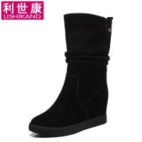 秋冬新款女鞋平底韩版雪地中筒靴百搭内增高短靴女靴子马丁靴
