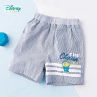 【3件3折到手价:45】迪士尼Disney童装 宝宝运动短裤夏季新款卡通印花条纹五分裤透气薄款裤子192K829