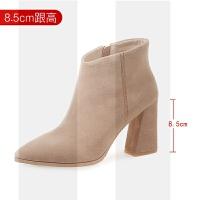 2018秋冬短靴女�n版新款�R丁靴牛皮高跟靴子女粗跟裸靴大小�a冬靴SN6492 38 ���