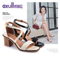 依思Q夏季新款时尚性感罗马女鞋百搭粗跟高跟潮凉鞋