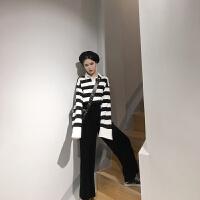 秋装新款韩版条纹宽松polo领T恤+高腰丝绒阔腿喇叭裤套装女 均码