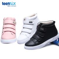 天美意春秋季新款中高帮魔术贴小白鞋韩版男女孩儿童运动鞋休闲鞋DX0199