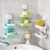 创意双层吸盘香皂盒塑料大肥皂架卫生间壁挂沥水海绵收纳架肥皂盒