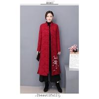复古冬季旗袍女 加厚保暖中国风棉外套大衣长袖唐装两件套装 酒红色 外套+裤子