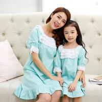儿童睡衣女童春夏中大童公主睡裙母女家居服韩版亲子宝宝长裙