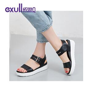 依思q夏季新款凉鞋女休闲纯色搭扣厚底松糕跟女鞋