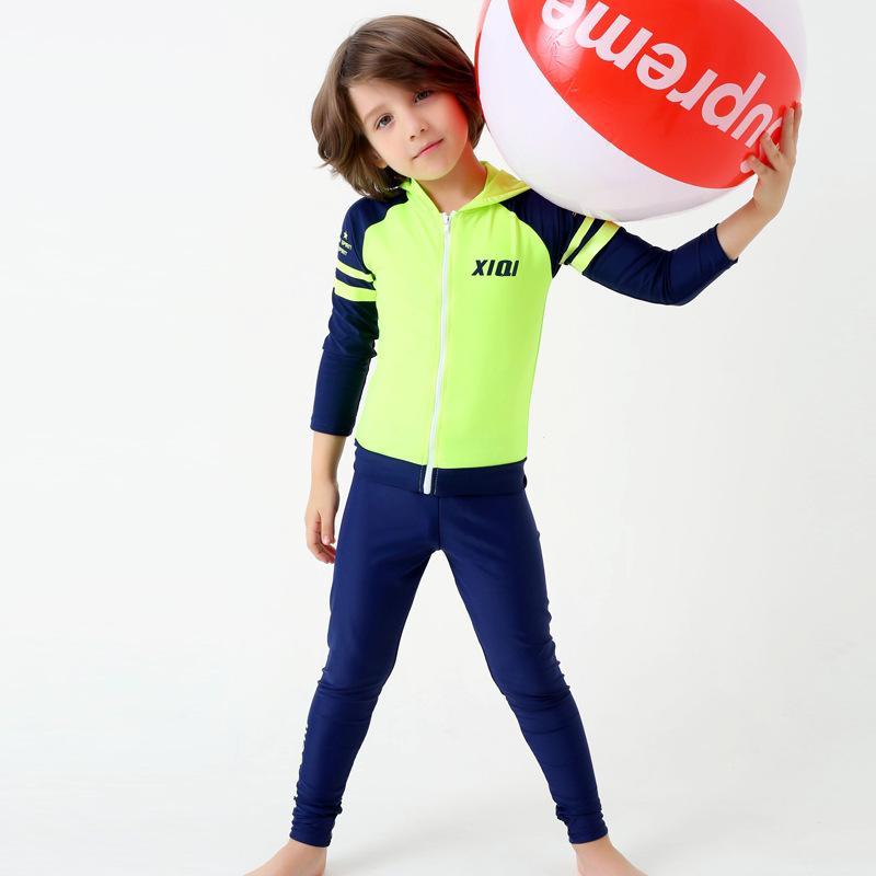 韩版儿童游泳衣儿童大中小童长袖防晒衣潜水服分体连帽男童泳装  5X 发货周期:一般在付款后2-90天左右发货,具体发货时间请以与客服协商的时间为准