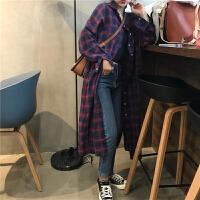 春季韩版chic裙子女装学生复古格子单排扣衬衫裙气质显瘦连衣裙潮