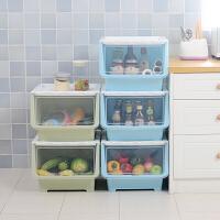 喜家家 厨房置物架可叠加透视收纳柜宝宝衣物整理柜带轮滑翻盖整理箱 蓝色 4个装