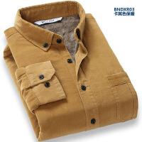 灯芯绒男士保暖长袖衬衫加绒加厚休闲条绒衬衣冬季修身男装潮