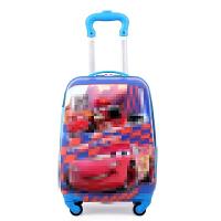 儿童行李箱可坐骑卡通行李箱6-12岁男女小学生小黄人书包18寸旅行 天蓝色 汽车总动圆拉杆箱