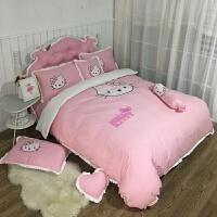 儿童四件套纯棉女孩1.8m床单公主风全棉床上用品1.2米三件套卡通