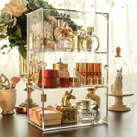 爱美丽家 透明亚克力化妆品护肤品香水置物架加高三层柜门收纳盒 三层柜门