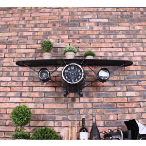 幸阁 书架置物架 创意单翼飞机钟太阳机芯 复古工业风 墙面仿古做旧铁艺壁饰钟表 装饰收纳壁挂柜