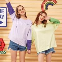 【1件2.5折到手价:51.3】美特斯邦威宽松t恤女新款秋季撞色上衣紫色泫雅风t恤女士长袖