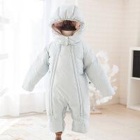 冬季外出加厚保暖抱衣0-12个月新生婴儿羽绒服男女宝宝外穿连体衣