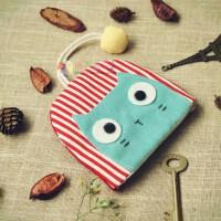 卡通可爱布艺抽拉钥匙包门禁饭卡套拉链零钱袋女式款锁匙 红条猫 有拉链