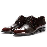 2018新款内增高男鞋真皮英伦圆头系带亮皮商务正装皮鞋男软底