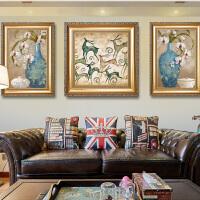 欧式装饰画麋鹿油画客厅沙发背景墙三联组合大气壁画卧室床头挂画SN9669 套餐价 62*82两边+82*82*1三联组