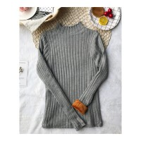 女装新款秋冬装加厚半高领针织长袖保暖打底衫纯色修身加绒毛衣潮 均码