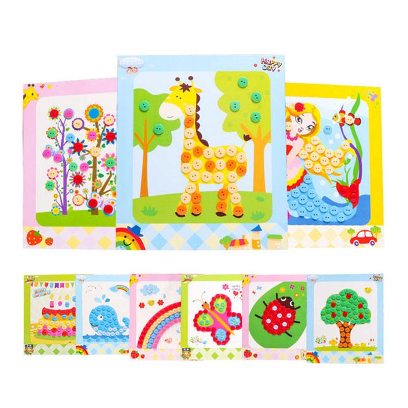儿童diy纽扣画幼儿园手工制作材料包eva创意粘贴画纸益智玩具
