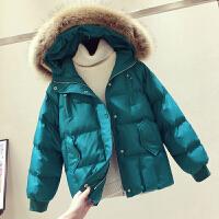 大毛领短款棉衣外套女冬装新款宽松x2羽绒面包服厚棉袄 X