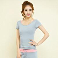 韩版显瘦女士上装健身房运动跑步长袖T恤 新款修身瑜伽服上衣女纯色