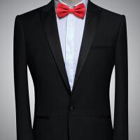酒红色婚礼礼服蝴蝶结黑色领花男士英伦西装新郎伴郎服领结