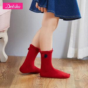 【3件3折到手价:11元】笛莎女童袜秋季新款小童短袜组合甜美撞色小女孩短袜袜子