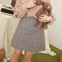 2018春装新款甜美显瘦格子A字短裙女学生高腰韩版包臀半身裙春秋