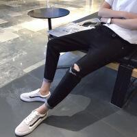 夏季九分牛仔裤男破洞黑色修身韩版休闲裤乞丐9分小脚裤子潮流