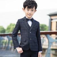 格子儿童西装童装宝宝西服套装男童小西装外套男花童礼服春2829