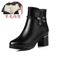 冬季女靴短靴真皮高跟皮鞋粗跟加绒加厚羊毛中跟大码妈妈棉鞋保暖SN8914