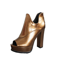 2018冬秋新款高跟粗跟防水台短靴欧美性感单靴鱼嘴马丁靴百搭女鞋 黑色