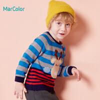 巴拉巴拉旗下马卡乐男童冬卡通麋鹿拼接长袖套头毛衫