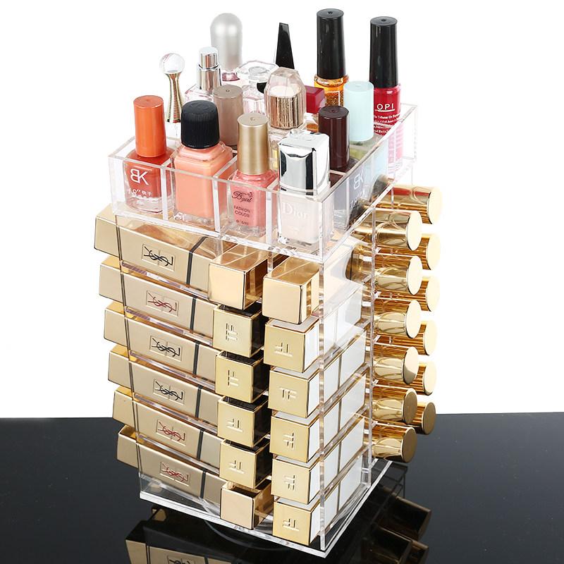 家居生活用品亚克力360度旋转唇膏口红收纳盒唇釉唇彩桌面整理盒架子 360度旋转口红收纳