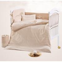 婴儿床品新生婴儿童床上用品套件彩棉四季七三件套定制宝宝床品套