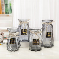 玻璃花瓶摆件欧式田园餐厅透明玻璃水培花瓶创意插花瓶