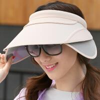 女士遮阳帽遮脸韩版可伸缩空顶夏季户外骑车太阳帽子 米白色 伸缩檐 可调节